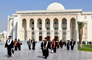 A graduation ceremony at the impressive campus of the American university of Sharjah in the UAE.