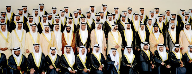 Members of the Al Nahyan, the ruling family of Abu Dhabi and members of the royal families of other UAE Emirates at a society wedding of four grandchildren of the late Sheikh Zayed.