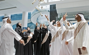 Emirati students celebrating after their graduation ceremony. (archive picture)