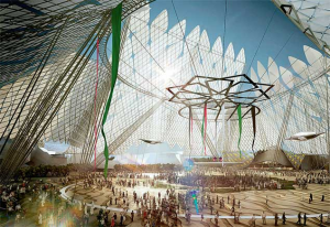 A computer generated image of the proposed design for the main venue for Expo 2020 in Dubai
