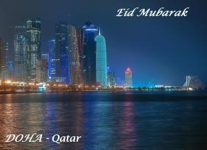 Doha, Capital of Qatar, lit up for Eid festivities.