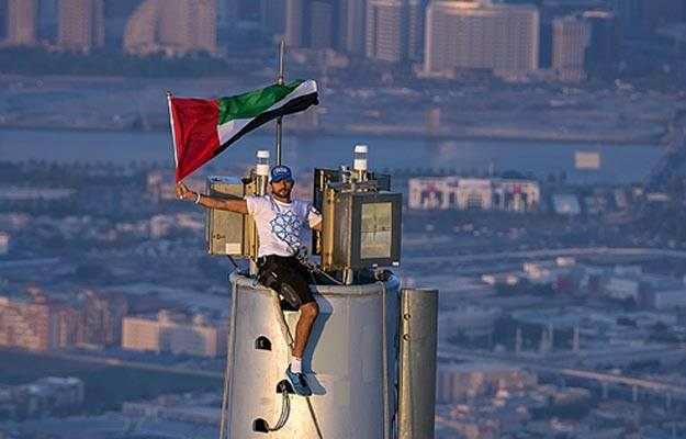 sheikh hamdan on top of burj khalifa