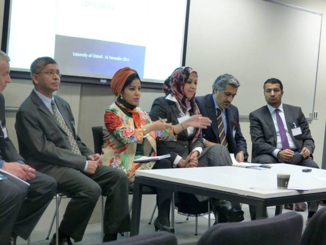 Participants of the first panel of the Symposium (from l to r) Brian Whitaker (partly hidden), Dr Hafez Khan, Dr Nada Dhaif (Bahrain), Maryam al Rayes (Iraq) Ghassan Khaddim (iraq) and Ghaith al Amaireh (Jordan).