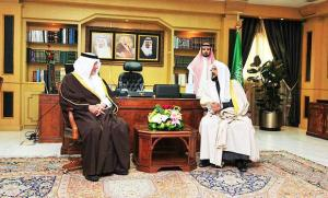 The new Minister of Education of Saudi Arabia, Prince Khalid al Feisal with Sheikh Abudlateef al Sheikh, the head of the Commission for the Promotion of Virtue and the Prevention of Vice - al Haia, at their meeting on 1 January 2014, hailed by Saudi bloggers as a meeting of moderates