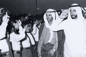 Dr Abdullah Omran Taryam with the first president of the UAE Sheikh Zayed bin Sultan al Nahyan soon after the establishment of the federation.